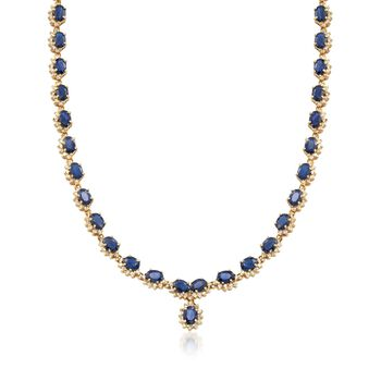 """C. 1990 Vintage 39.00 ct. t.w. Sapphire and 5.00 ct. t.w. Diamond Necklace in 14kt Yellow Gold. 17.5"""", , default"""