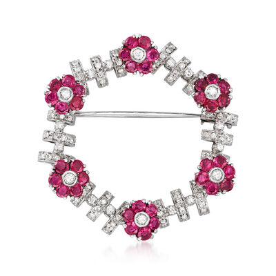 C. 1950 Vintage 2.80 ct. t.w. Ruby and .85 ct. t.w. Diamond Flower Wreath Pin in 18kt White Gold, , default