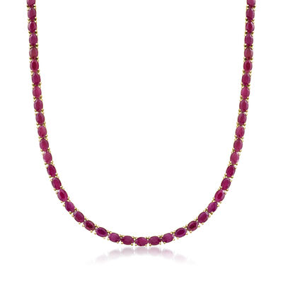 40.00 ct. t.w. Ruby Necklace in 18kt Gold Over Sterling