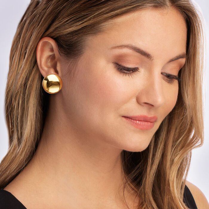 Italian 18kt Gold Over Sterling Dome Clip-On Earrings