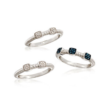 .19 ct. t.w. Blue and White Diamond Jewelry Set: Three Rings in Sterling Silver, , default
