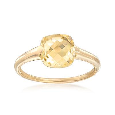 Italian 2.00 Carat Citrine Ring in 14kt Yellow Gold, , default
