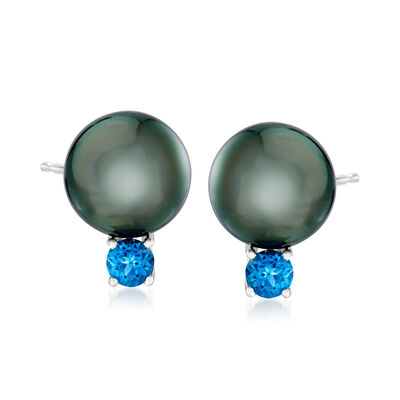 Cultured Tahitian Pearl and 1.70 ct. t.w. London Blue Topaz Earrings in Sterling Silver, , default
