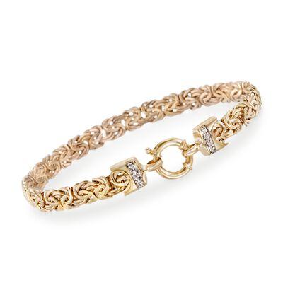 14kt Yellow Gold Byzantine Bracelet with Diamond Accents, , default