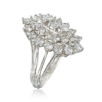 C. 1980 Vintage 2.65 ct. t.w. Diamond Cluster Ring in 14kt White Gold. Size 7