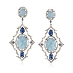 23.25 ct. t.w. Aquamarine and 2.95 ct. t.w. Diamond Drop Earrings With .30 ct. t.w. Sapphires in Sterling Silver , , default