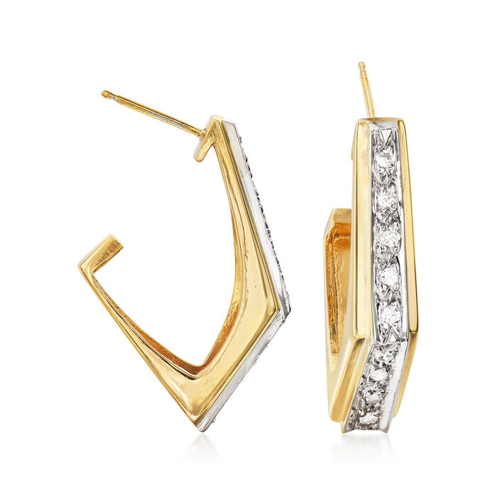 C. 1980 Vintage .35 ct. t.w. Diamond J-Hoop Earrings in 14kt Yellow Gold. 1""