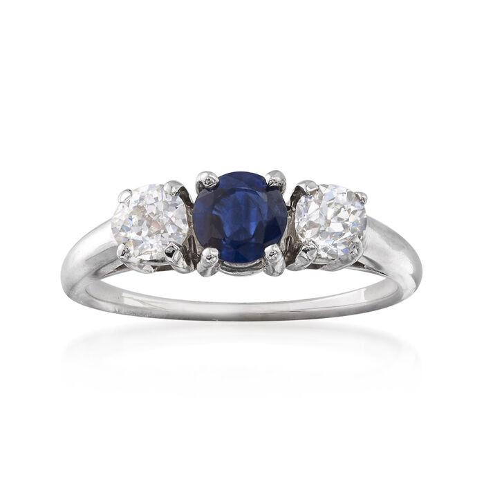 C. 1990 Vintage .50 Carat Sapphire and .50 ct. t.w.  Diamond Ring in 14kt White Gold. Size 5.75, , default