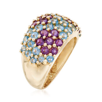 C. 2000 Vintage 1.80 ct. t.w. Blue Topaz and 1.15 ct. t.w. Amethyst Floral Ring in 14kt Yellow Gold. Size 6, , default