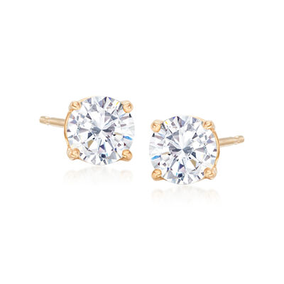 1.00 ct. t.w. CZ Stud Earrings in 14kt Yellow Gold