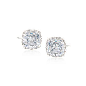 7.20 ct. t.w. Cushion-Cut CZ Stud Earrings in Sterling Silver, , default