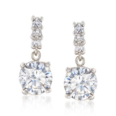 2.73 ct. t.w. CZ Drop Earrings in Sterling Silver, , default