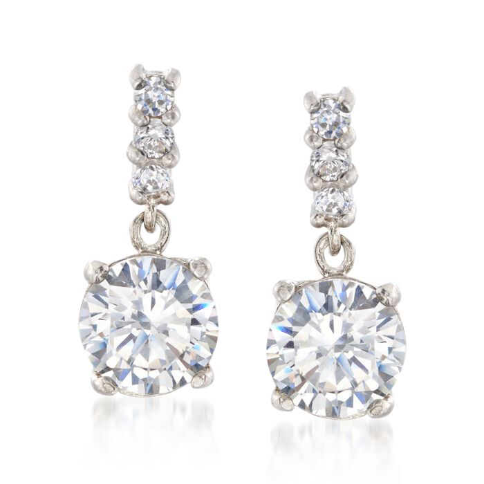 2.73 ct. t.w. CZ Drop Earrings in Sterling Silver. , , default