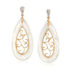 Mother-Of-Pearl Openwork Earrings With Diamond Accents in 18kt Yellow Gold, , default