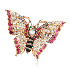 C. 1920 Vintage 4.30 ct. t.w. Ruby, 4.25 ct. t.w. Diamond and Black Enamel Butterfly Pin in 14kt Yellow Gold , , default