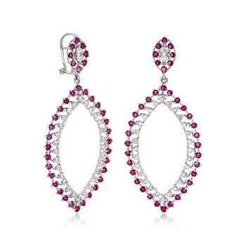 2.50 ct. t.w. Ruby and 1.55 ct. t.w. Diamond Open Marquise Drop Earrings in 14kt White Gold, , default