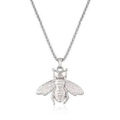 Italian Sterling Silver Bumblebee Pendant Necklace, , default