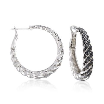 "1.00 ct. t.w. Black Spinel Twisted Hoop Earrings in Sterling Silver. 1 1/8"", , default"