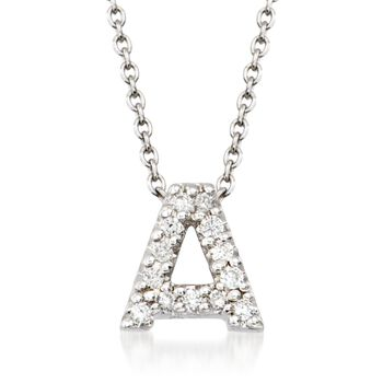 """Roberto Coin """"Tiny Treasures"""" Diamond Accent Initial """"A"""" Necklace in 18kt White Gold. 16"""", , default"""