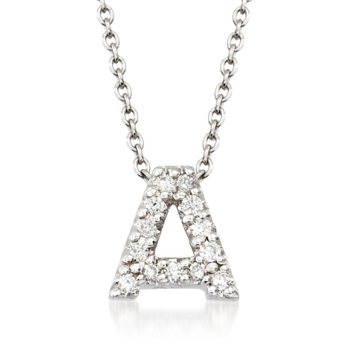 "Roberto Coin ""Tiny Treasures"" Diamond Accent Initial ""A"" Necklace in 18kt White Gold. 16"", , default"