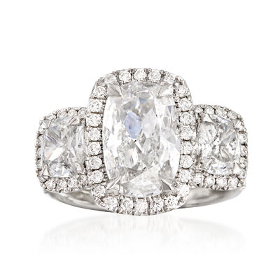 Majestic Collection 5.24 ct. t.w. Diamond Three-Stone Halo Ring in 18kt White Gold, , default