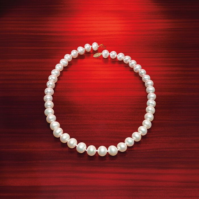 10-11mm Cultured Pearl Necklace with 14kt Yellow Gold