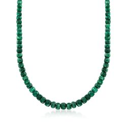 90.00 ct. t.w. Emerald Bead Necklace With Sterling Silver, , default