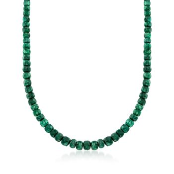 "90.00 ct. t.w. Emerald Bead Necklace With Sterling Silver. 18"", , default"