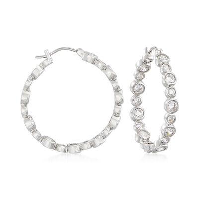 4.30 ct. t.w. Bezel-Set CZ Inside-Outside Hoop Earrings in Sterling Silver, , default