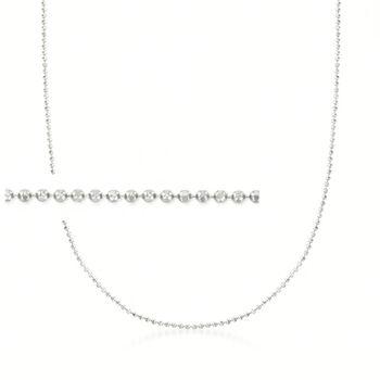 """Italian 1mm 14kt White Gold Adjustable Slider Bead Chain. 22"""", , default"""