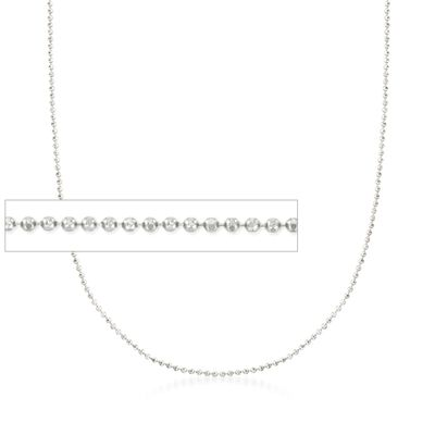 Italian 1mm 14kt White Gold Adjustable Slider Bead Chain, , default