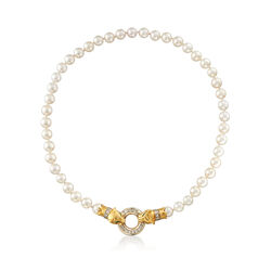 """C. 1980 Vintage 7mm Cultured Pearl Double Panther Head Necklace With Diamonds and Emeralds in 18kt Yellow Gold. 15"""", , default"""