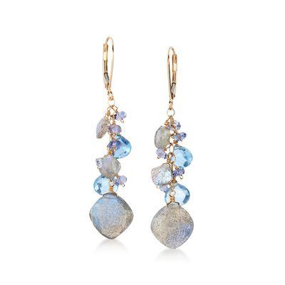 11.90 ct. t.w. Multi-Stone Cluster Drop Earrings in 14kt Yellow Gold, , default