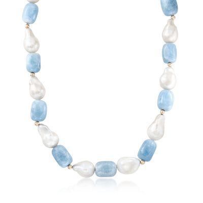 12-15mm Cultured Pearl and 240.00 ct. t.w. Aquamarine Necklace in 14kt Yellow Gold, , default