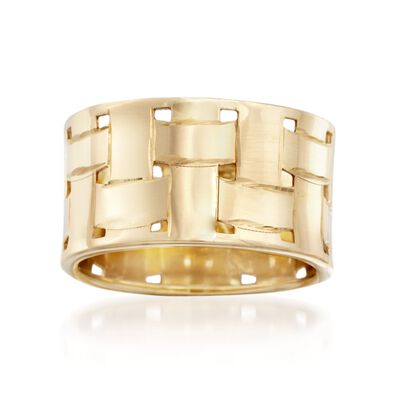 Italian 14kt Yellow Gold Basketweave Ring, , default