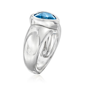 C. 1980 Vintage Piaget 3.85 Carat London Blue Topaz Heart Ring in 18kt White Gold. Size 6.75, , default