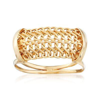 Italian 18kt Yellow Gold Mesh Ring, , default