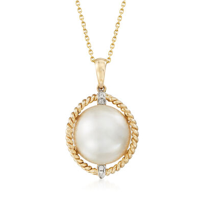 Mabe Pearl Pendant Necklace with Diamond Accents in 14kt Yellow Gold, , default