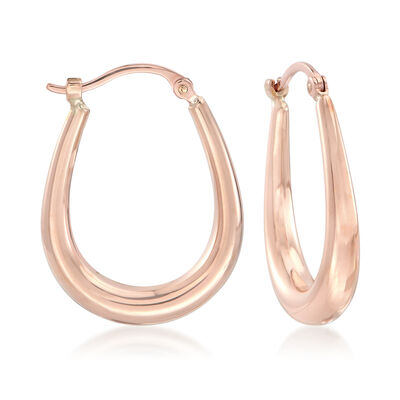 14kt Rose Gold U-Shaped Hoop Earrings, , default