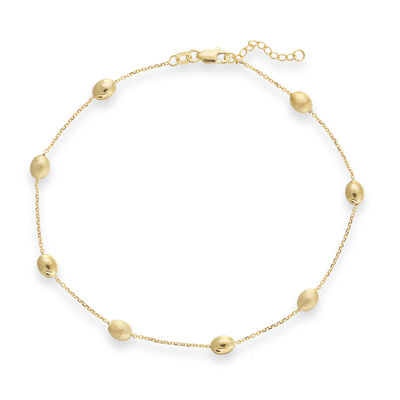 14kt Yellow Gold Coffee Bean Anklet, , default