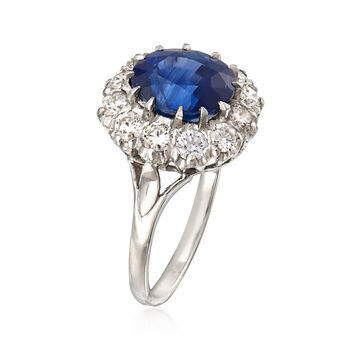 3.84 Carat Sapphire and 1.00 ct. t.w. Diamond Ring in Platinum. Size 7, , default