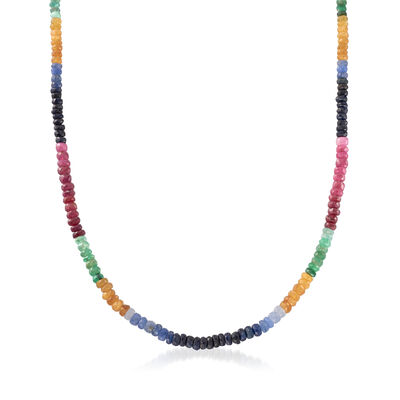 Multi-Stone Rondelle Bead Necklace with Sterling Silver, , default