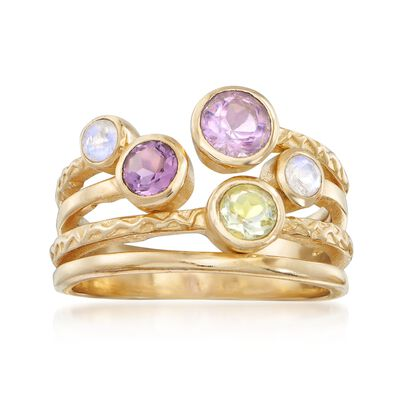 10.00 ct. t.w. Purple and Green  Amethyst and Moonstone Ring in 18kt Gold Over Sterling, , default