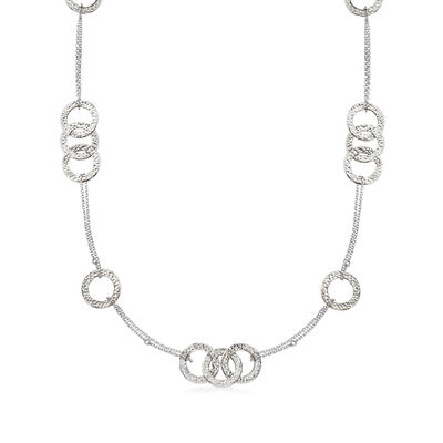 Italian Sterling Silver Station Circle Necklace, , default