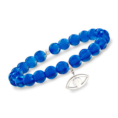 Italian Dark Blue Murano Glass Bead Stretch Bracelet with Sterling Silver Evil Eye Charm, , default