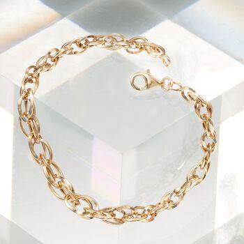 14kt Yellow Gold Interlocking Double Oval-Link Bracelet, , default