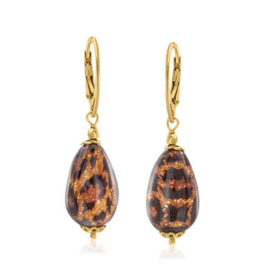 Italian Leopard Murano Glass Drop Earrings in 18kt Gold Over Sterling
