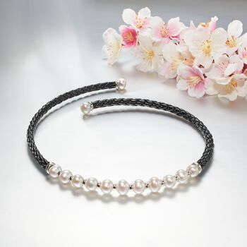 "8-12mm Cultured Pearl and Black Leather Collar Necklace with Sterling Silver. 17"", , default"