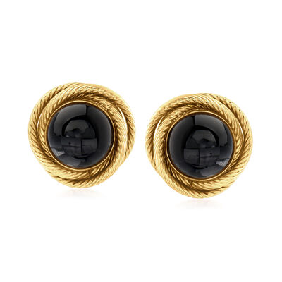 C. 1990 Vintage Black Onyx Knot Clip-On Earrings in 14kt Yellow Gold