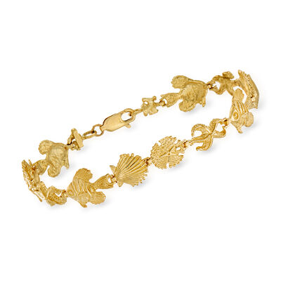 14kt Yellow Gold Sea Life Bracelet